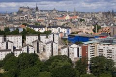 Edinburgh City. A wide-angle photo of Edinburgh City Centre with castle in background Stock Image