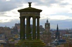 Edinburgh city from Calton Hill. Dugald Stewart monument in Calton Hill and Edinburgh view stock images
