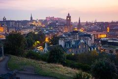 Edinburgh city from Calton Hill at night, Scotland, UK Stock Photography