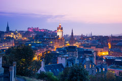 Edinburgh city from Calton Hill at night, Scotland, UK Stock Images