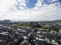Edinburgh city historic Castle Rock sunny Day Aerial shot Royalty Free Stock Images