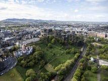 Edinburgh city historic Castle Rock sunny Day Aerial shot 4 Royalty Free Stock Image