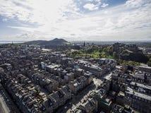 Edinburgh city historic Castle Rock sunny Day Aerial shot 2 Stock Photo