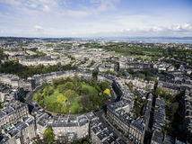 Edinburgh city historic Town sunny Day Aerial shot 2 royalty free stock photography