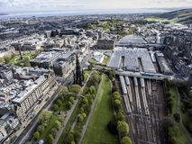 Edinburgh city historic Train Station Rail way sunny Day Aerial shot. Edinburgh city historic Train Station Rail way on sunny Day Aerial shot Stock Photography