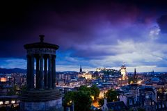 Edinburgh city night scene Royalty Free Stock Photos