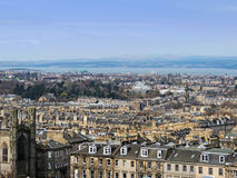 Edinburgh city panorama from Calton Hill, with Firth of Forth in the background Royalty Free Stock Photography