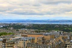 Edinburgh city panorama. From Castle. European travel destinations Royalty Free Stock Image