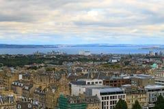 Edinburgh city panorama. From Castle. European travel destinations Stock Images