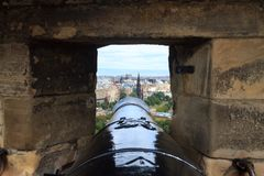 Edinburgh city panorama. From Castle. European travel destinations Royalty Free Stock Images