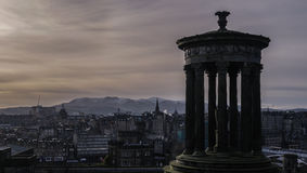 Edinburgh city and Scott Monument during sunset from Calton Hill, Scotland Stock Image