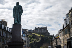 Edinburgh city Sculptue look at historic Castle Rock Royalty Free Stock Image
