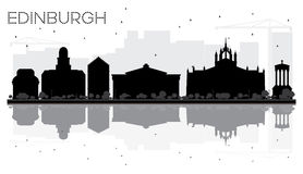 Edinburgh City skyline black and white silhouette with reflections. Vector illustration. Cityscape with landmarks stock illustration