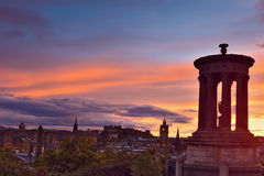Edinburgh city at sunset. Picturesque view of evening Edinburgh old town at sunset with the Castle from Calton hill , Scotland, UK Royalty Free Stock Image