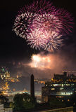 Edinburgh Cityscape with fireworks Royalty Free Stock Image
