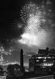 Edinburgh Cityscape with fireworks Royalty Free Stock Images