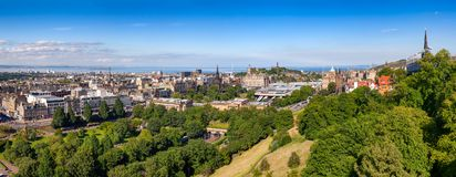 Edinburgh cityscape panorama Scotland UK. Panoramic cityscape of Edinburgh, the capital city of Scotland as viewed from the Edinburgh Castle in August of 2012 Royalty Free Stock Photos