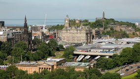 Edinburgh cityscape stock video footage