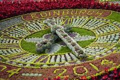 Edinburgh clock. Clock made of flowers at Princes Streets Gardens, Edinburgh, Scotland. UK Royalty Free Stock Photo