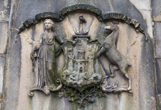 Edinburgh Coat of Arms on the Bow Well in Edinburgh Stock Image