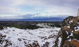 Edinburgh. Park snowing royalty free stock photography