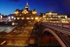 Edinburgh entro la notte fotografia stock