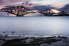 Edinburgh Forth Bridge Sunset Stock Photo