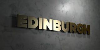 Edinburgh - Gouden tekst op zwarte achtergrond - 3D teruggegeven royalty vrij voorraadbeeld Royalty-vrije Stock Foto