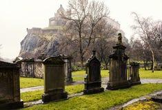Edinburgh graveyard below the castle Stock Photos