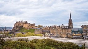 Edinburgh including the Castle cityscape with dramatic skies Stock Photography