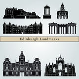Edinburgh landmarks and monuments. On blue background in editable vector file Royalty Free Stock Photos