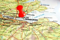 Edinburgh map with pin. Close up of Edinburgh on a map with red pin Stock Photo