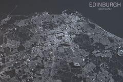 Edinburgh map, satellite view, Scotland, UK Stock Photography