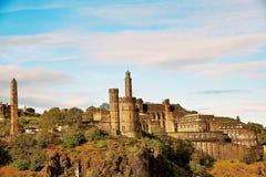 Edinburgh, Mening van de stad, verscheidene monumenten en Kasteel, Stock Fotografie