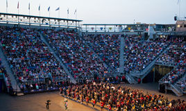 Edinburgh Military Tattoo. The Military bands combine for the finale at the Edinburgh Military tattoo. These are the scottish army with traditional kilt. This is royalty free stock photos