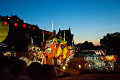 Edinburgh Military Tattoo. Projection of cartoon over the Edinburgh Castle during the Military Tattoo Celebration royalty free stock images
