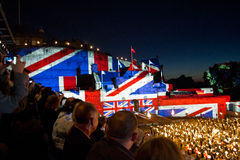 Edinburgh Military Tattoo. Projection of Union Jack flag over the Edinburgh Castle during the Military Tattoo Celebration stock photos