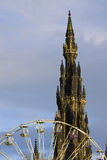 Edinburgh monument and wheel ferris Royalty Free Stock Images