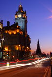 Edinburgh at night. Princes Street in Edinburgh at night royalty free stock image