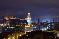 Edinburgh at night stock image