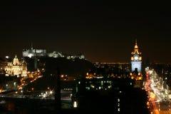 Edinburgh by Night. Edinburgh Castle, Princes Street and the Balmoral Hotel Stock Image