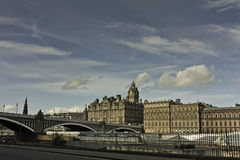 Edinburgh north bridge and balmoral Royalty Free Stock Image