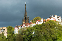 Edinburgh Old Old Town with Tower in Background Royalty Free Stock Image