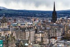 Edinburgh, Old Town. Church spire protruding above the Old Town in Edinburgh, Scotland Stock Photo