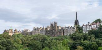 Edinburgh Old Town skyline. A view to Edinburgh Old Town from Princes Street, Edinburgh Stock Images
