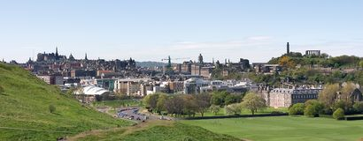Edinburgh Panorama. A panoramic view of the City of Edinburgh, Scotland, showing all its best known landmarks Royalty Free Stock Images