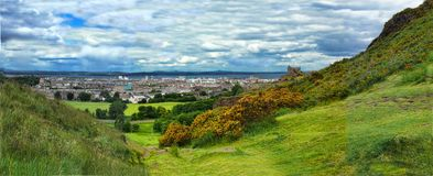 Edinburgh Panorama. Panorama of Edinburgh from Arthur's Seat, Scotland royalty free stock photos