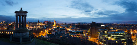 Edinburgh Panorama. Blue hour from Carlton Hill Stock Photography