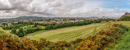Edinburgh panorama from Holyrood Park. And Arthurs Seat Stock Images