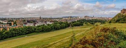 Edinburgh city centre panorama from Holyrood Park. Edinburgh panorama from Holyrood Park - 23 mm Stock Image